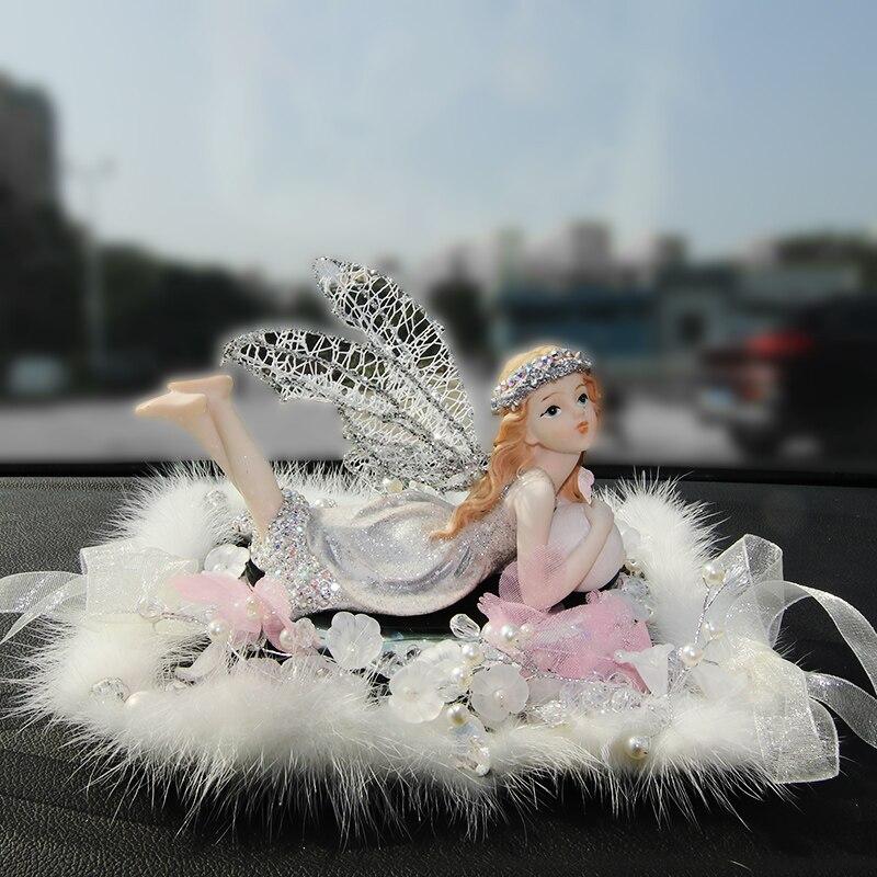 Strass voiture ornement cristal diamant mignon ange filles parfum ornement Automobiles intérieur tableau de bord balançoire pour les femmes