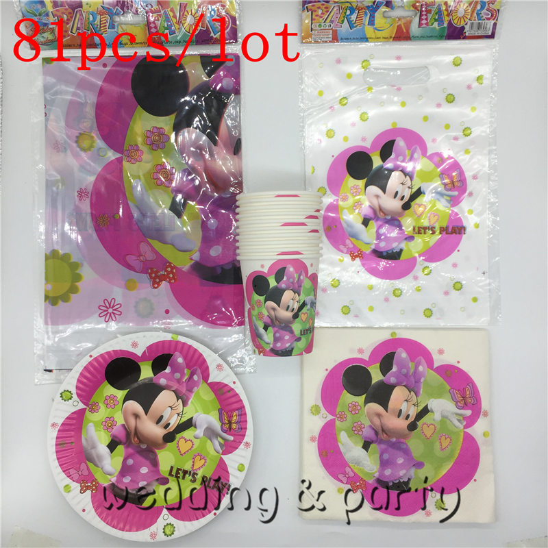 81PCS High Quality Minnie mouse Theme childrenfavor happy birthday party childrens day supplies decoration cartoon baby shower