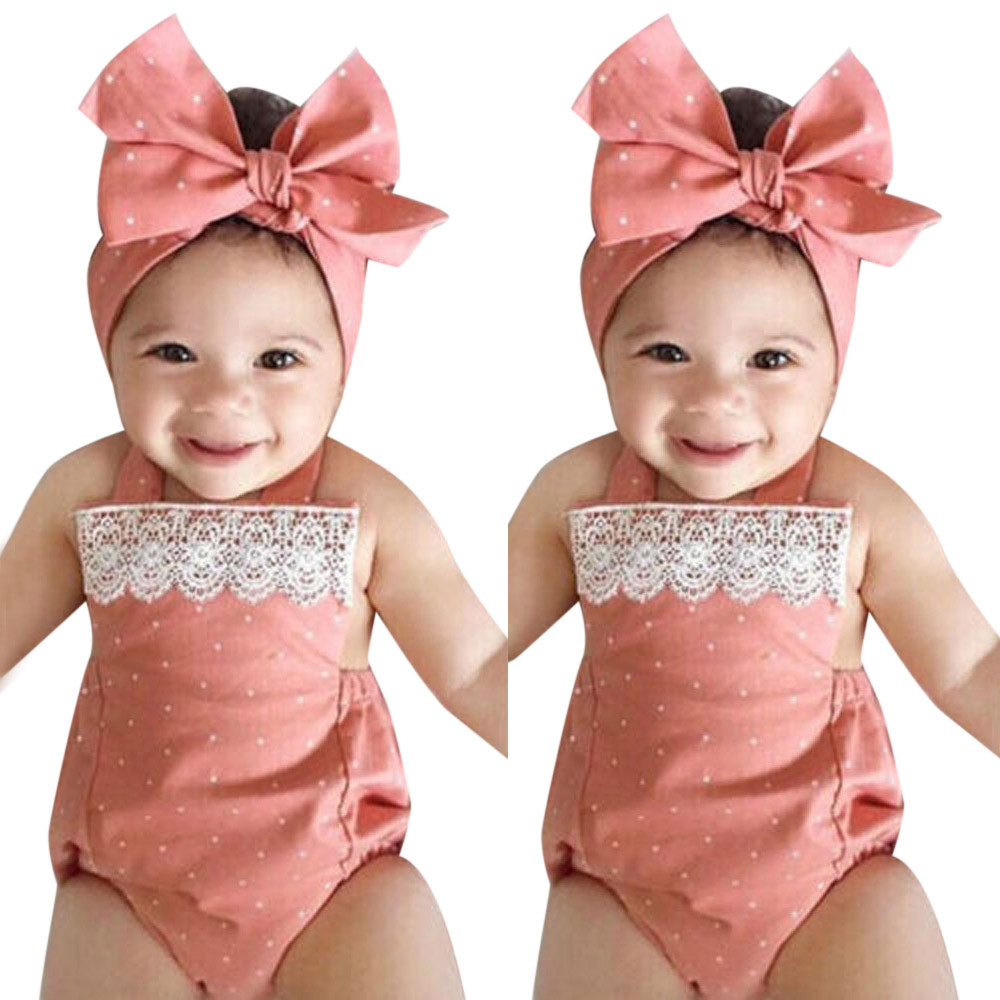 ARLONEET 2018 Baby Floral   Romper   Backless+Bow Headband Set Summer Pink Toddler Girl Clothes 0 to 18 Months Drop Shipping 30S410