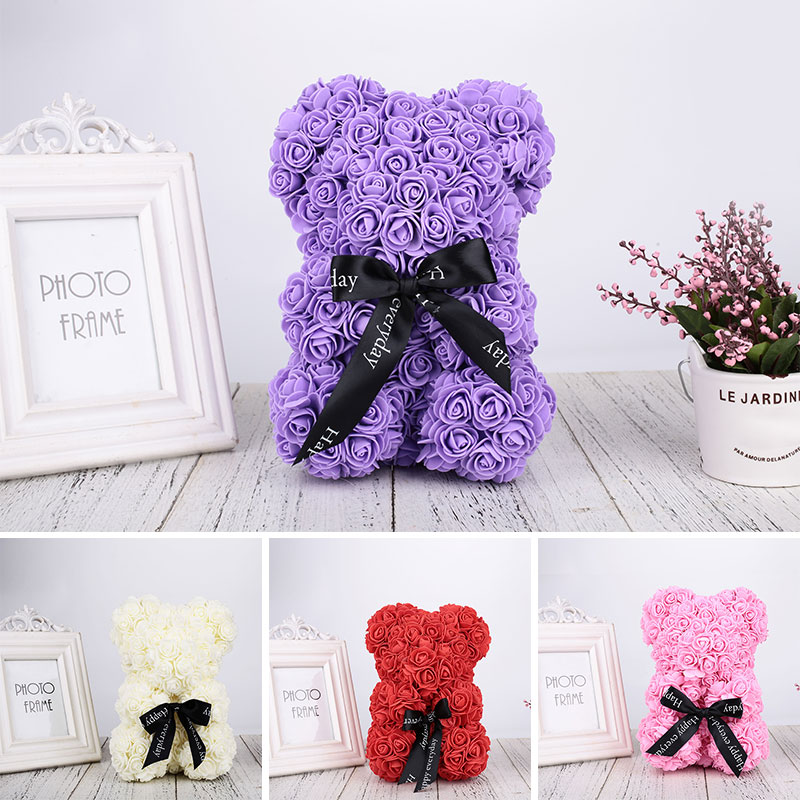 Foam Gift Rose Bear Toy Artificial Rose Romantic Valentines Day Bear Dolls Simulated Utmost In Convenience Party Favors