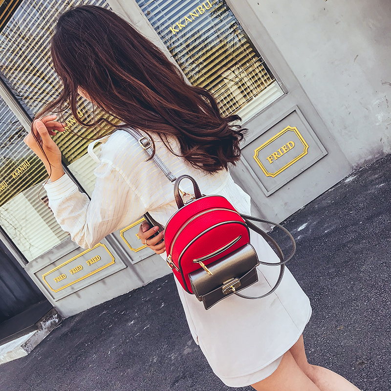 Summer Panelled Multispace Women Mini Backpack Gril Preppy Style School Bag Elegant Travel Bag Fashion Shoulder Bag Phone Pocket