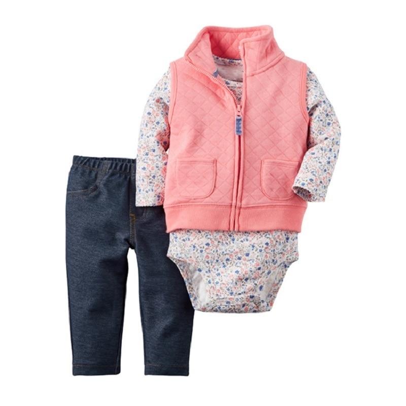 2018 Pasgeboren Baby Kleding Meisje Bodusuit Warm Jumpsuit Dikke Katoenen Kraag Romper Vest Set Pure Witheid