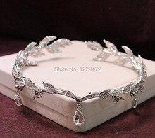 TREAZY Rhinestone Crystal Bridal Hair Accessories Wedding Waterdrop Leaf Tiara Crown Headband Frontlet Bridesmaid Hair Jewelry