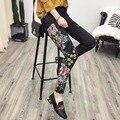 Мода китай стиль вышивки дракон рисунок длинный джинсы осень старинные женские черные джинсы длинные брюки прямые джинсы