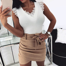 Womens Sexy V Neck Sleeveless Tee Tops Hollow Out Lace Stitching Tank Top Sexy Beauty Back Lace Up Simple Black White Color Top