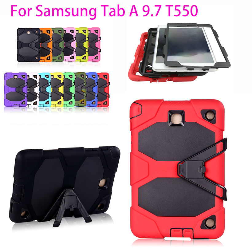 PC Silicone Cover Case For Samsung Galaxy Tab A 9.7 SM-T550 T550 T551 T555 T555C Case Tablet Shockproof Stand Hang Funda Capa bf luxury painted cartoon flip pu leather stand tablet case for funda samsung galaxy tab a 9 7 t555c t550 sm t555