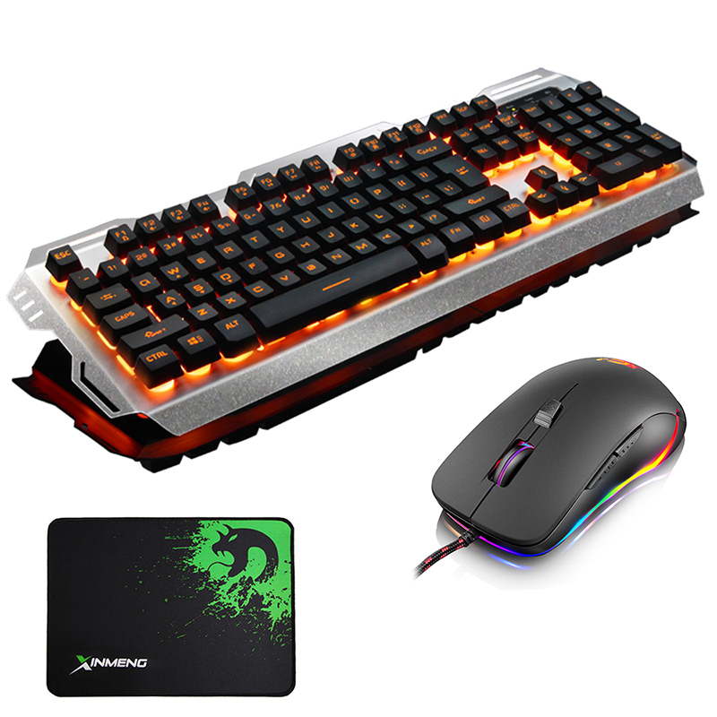 705 Wired Yellow LED Backlit Ergonomic Usb Gaming Keyboard Metal + 2400DPI Optical Gamer Mouse Sets Laptop Computer+ Mouse pad цена и фото
