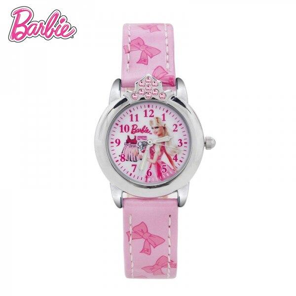 100% Подлинная Барби Принцесса часы Барби Девочек Мода Reloj Наручные Часы Рождественские подарки симпатичные Кварцевые Наручные Часы BA00128-1