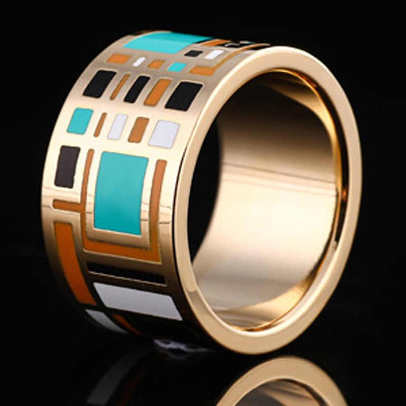 Blucomeสแตนเลสแหวนสำหรับผู้หญิงแต่งงานครบรอบเครื่องประดับC OllaresเคลือบE Smalteแหวนยี่ห้อดูไบอุปกรณ์Anel