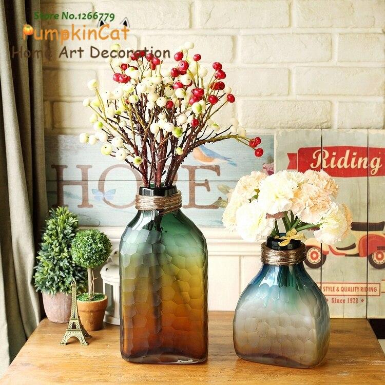 2018 vase en verre teinté de style européen Chic, décorations de vase de table, style minimaliste élégant, décor de vase de luxe discret