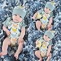 2016 Bonito Do Bebê Das Meninas Dos Meninos Roupas de Algodão Corpo Bebes Bebê Bodysuit Verão de Manga Curta Roupa de Crianças Cap Chapéu Outfits 2 Pcs