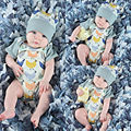2016 Cute Baby Boys Girls Clothes Cotton Bodysuit Short Sleeve Summer Bebes Baby Body Kids Clothing Hat Cap Outfits 2Pcs