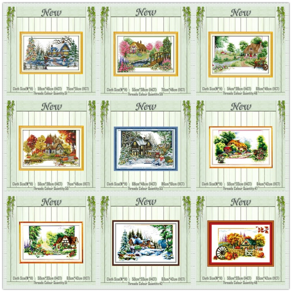 Four Season Summer Autumn Scenery Paintings Counted Printed On Canvas DMC 11CT 14CT Kits Cross Stitch Embroidery Needlework Sets