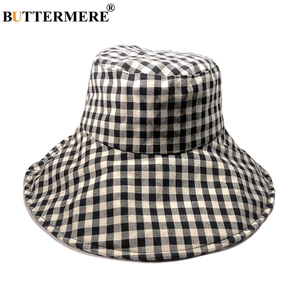 d203cf1d5 US $9.95 40% OFF|BUTTERMERE Red Bucket Hat Ladies Plaid Cotton Fishing Caps  Women Checkered Wide Brim Casual Tartan Uv Autumn Sun Hat Pink Khaki-in ...