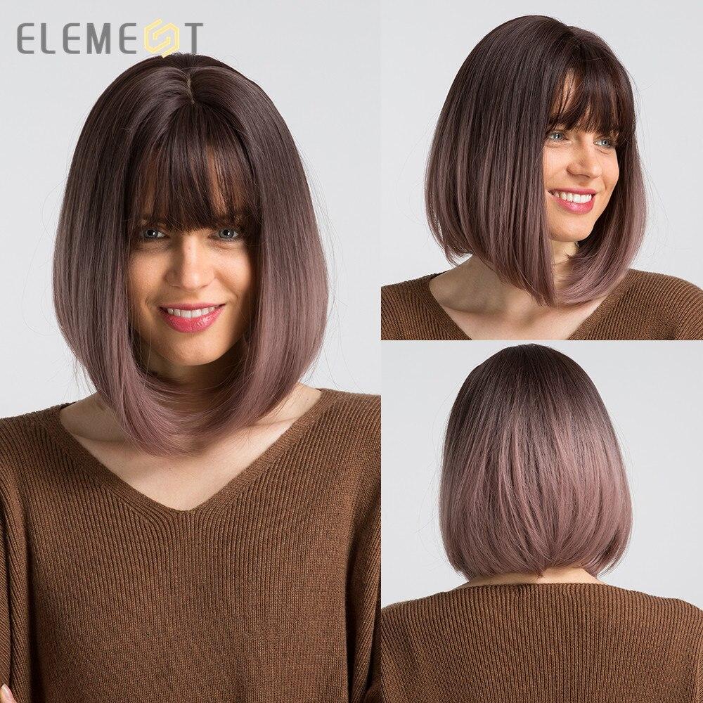Элемент 12 дюймов короткие Синтетические прямые волосы с эффектом деграде (переход от фиолетового цвета; Милое боб парики с челкой для белый/...