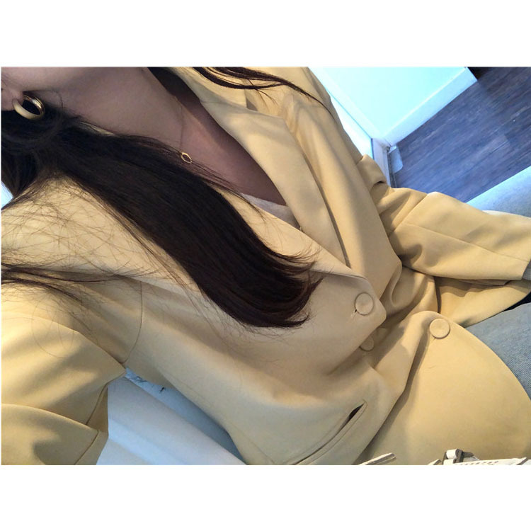Cream Yellow Simple Temperament Loose Suit Coat Notched Single Breasted Clothes Blazers And Jackets Suit Coat Women 2019