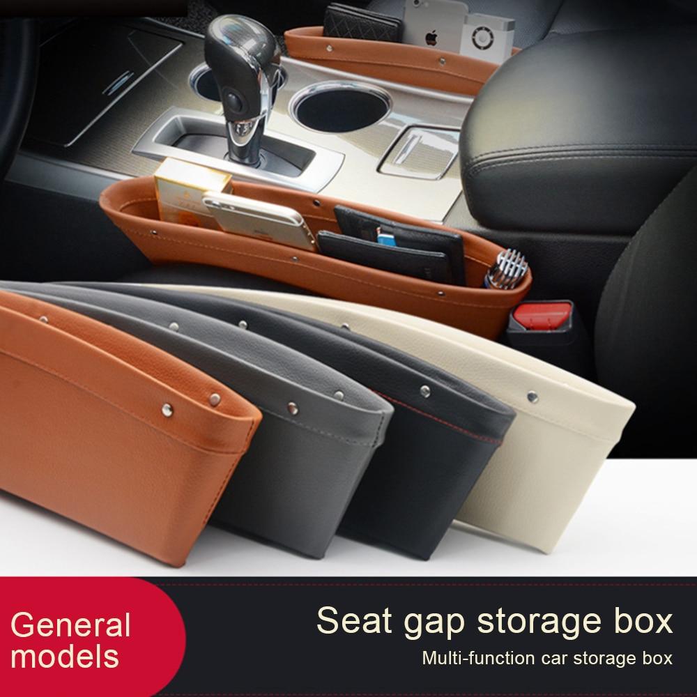 Car Organizer PU Leather Catch Catcher Box Caddy Car Seat Slit Gap Pocket Storage Glove Box Slot Box Leather 4 Color Storage цена