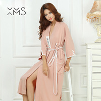 XMS New Arrivals Bamboo Soft Nightgowns Home Dress Sexy Nightwear Women Sleepwear Solid Sleep Lounge Vintage Nightgown Female