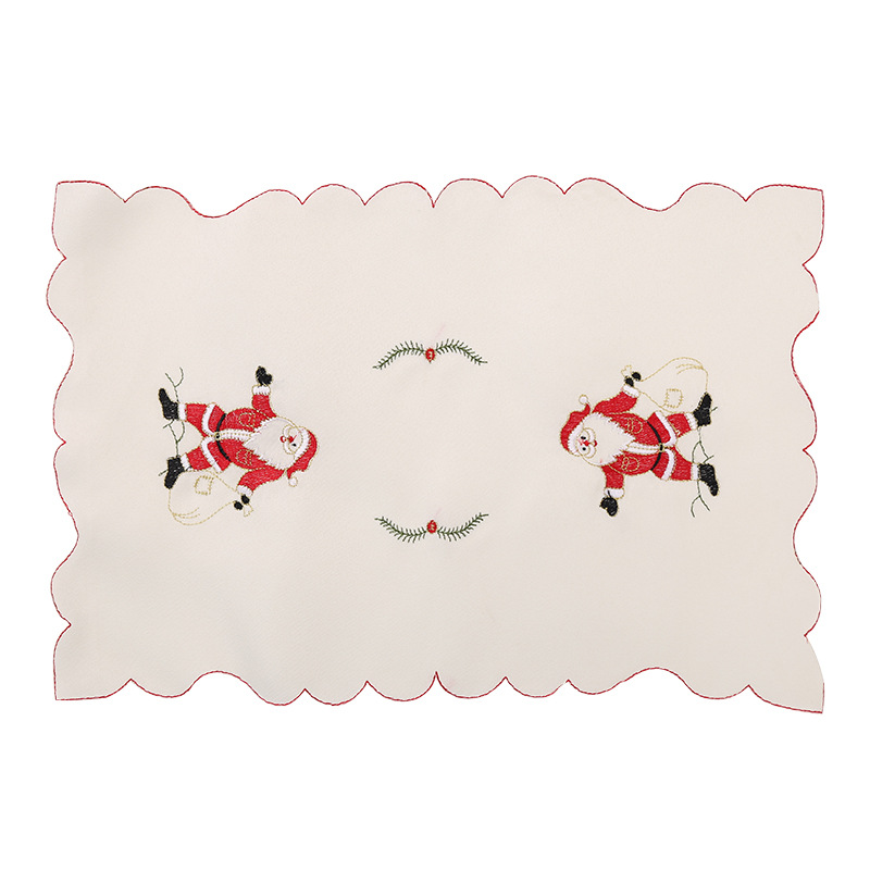 2017 Embroidery Santa Clause Table Mats Christmas Party Dinner Table Decor Bell Plate Ma ...