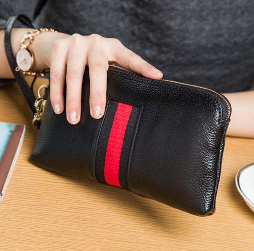 Pénztárca Női márkás dizájn Portefeuille femme Valódi bőrkapcsoló Női pénztárcák 6 szín divat hosszú Carteira Feminina