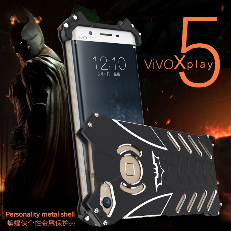 R-JUST VIVO Xplay 5 case Armor Heavy Dust Metal Aluminum CNC BATMAN protect Skeleton head VIVO Xplay 5 Phone Cover case +bracket