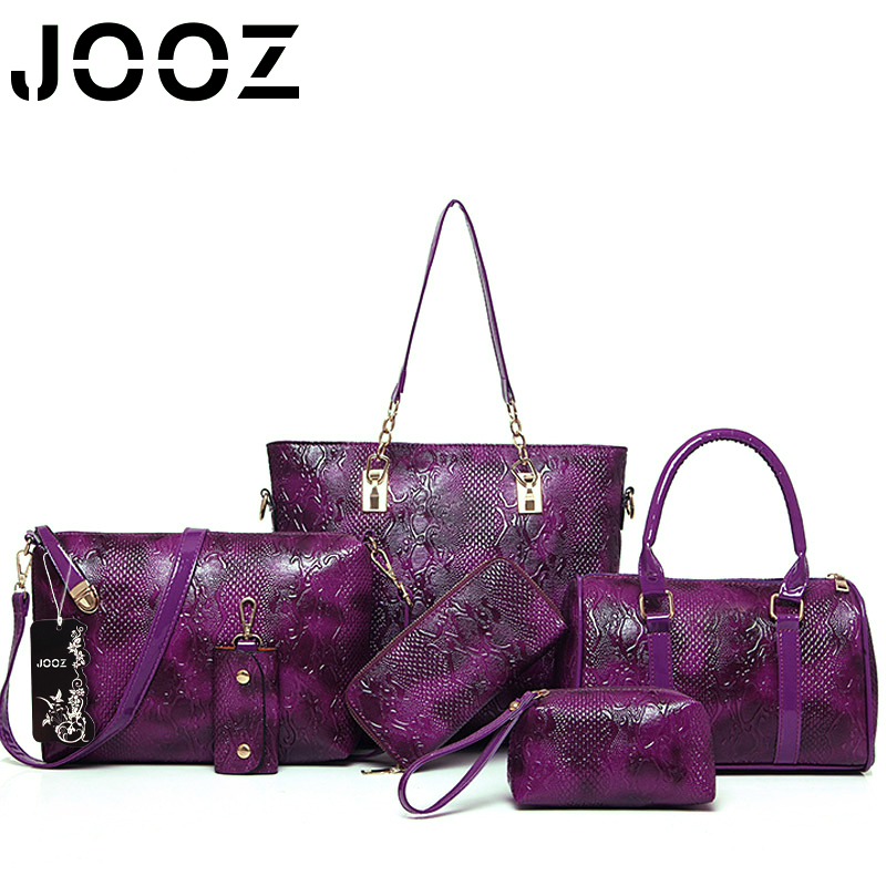 ФОТО Jooz Brand Luxury Alligator bag Lady Leather 6Pcs bags Set Women Shoulder Crossbody Bags Handbag Purse Clutch