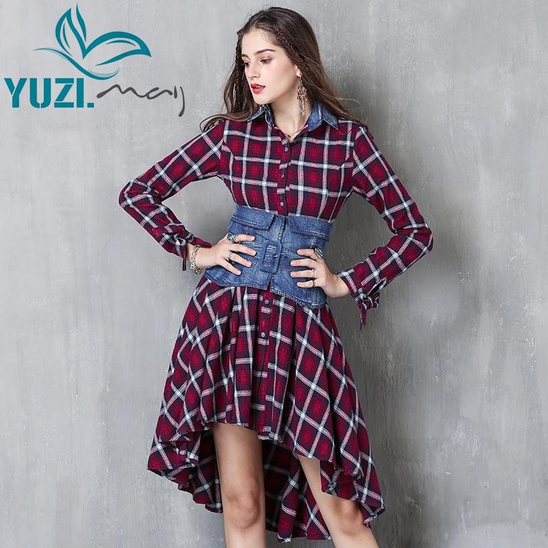 Dress Women 2017 Yuzi may Boho Denim Vestidos Turn down Collar Asymmetrical Hem Plaid Detachable Belt