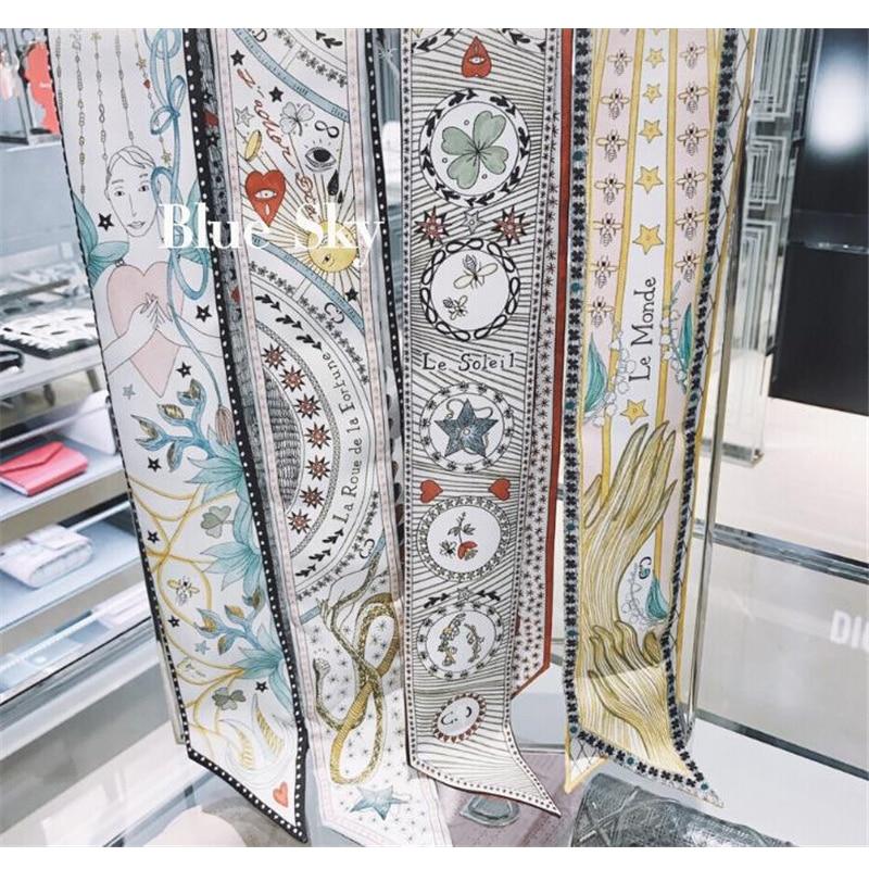 New Design Skinny Scarf Tarot Series Fashion Print Silk Scarf Women Small Handle Bag Ribbons Female Head Scarves Wrap For Ladies
