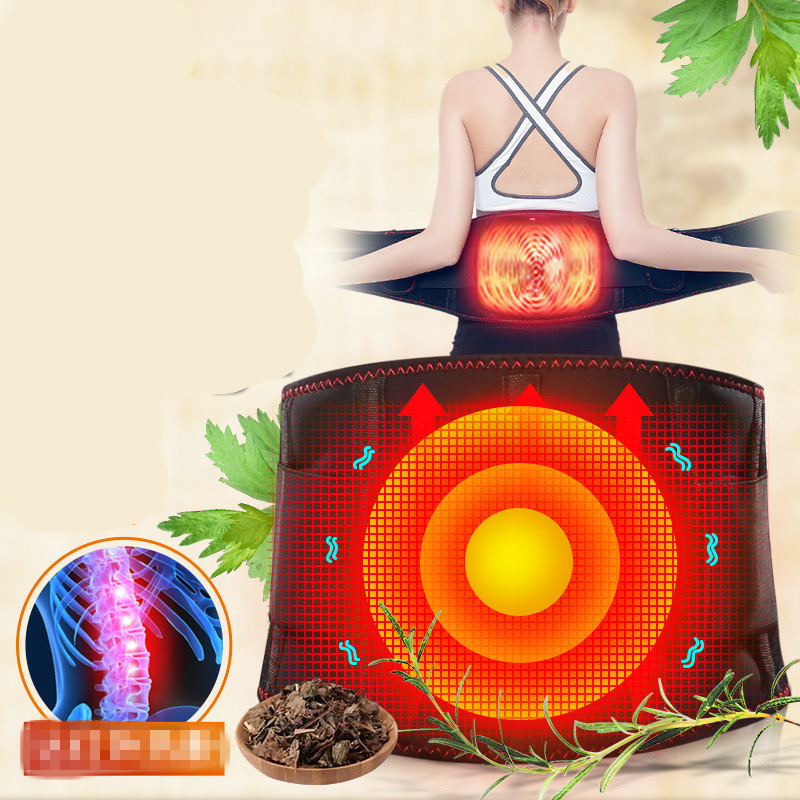 New Electric heating rechargeable waist massage belt hot compress therapy warming vibrating lumbar waist massager moxibustion automobile interior decorations car massage electric waist cushion magnetic vibrating massage lumbar protective hot sale