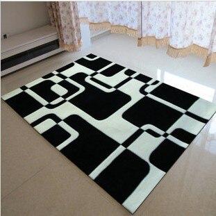 Tapis fait main, peinture abstraite, dessin géométrique, noir et blanc, Super doux, tapis noir, code produit 0025