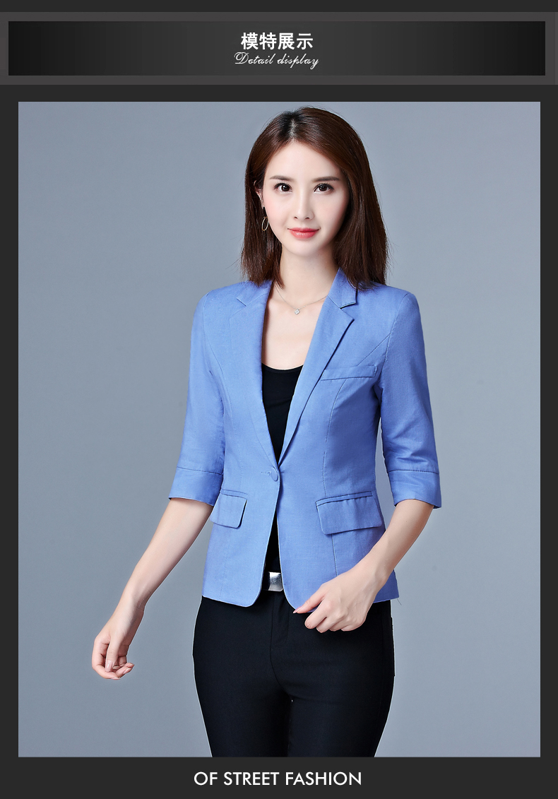 Casaco Feminino 2017 Women Thin Blazer Candy Color One Button Three Quarter Sleeve Office Ladies OL Suit Jacket plus size S-3XL