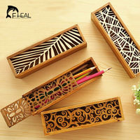 Retro Hollow Classic Exquisite Multi Functional Wood Pencil Case Storage Box School And Office Stationery