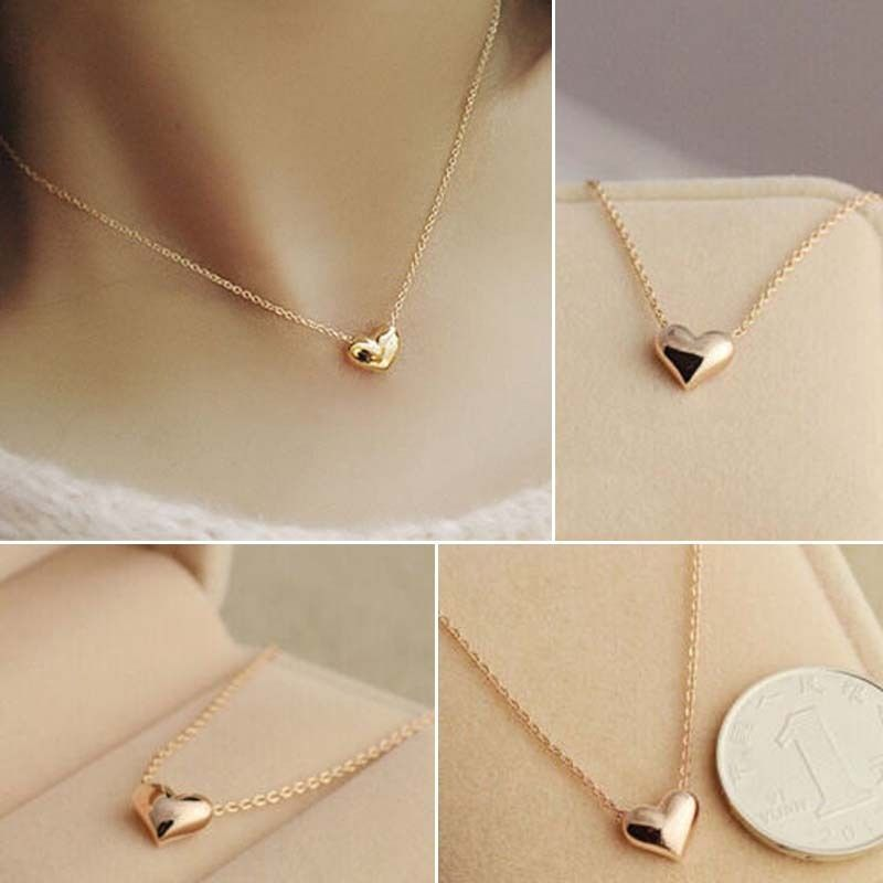 1 pc Romantic Ladies Simple Design Chic Gold Color Chain Heart ...
