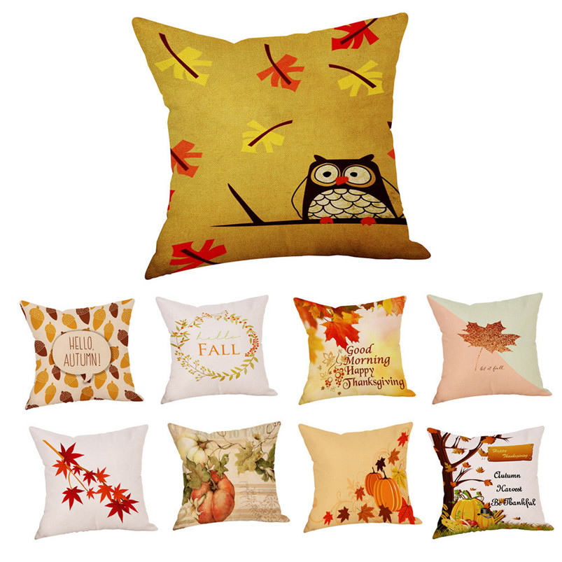 2017 Hot Sale Fashion Plush Happy Fall Thanksgiving Day Linen Turkey Pillow Case Cushion Cover Home Decor Pillow Cover
