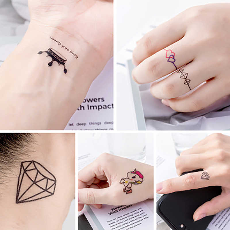 Waterproof Temporary Tattoo Stickers Diamond Crown Heart Fake Tatto Flash Tatoo Tatouage Body Art Hand Foot for Girl Women Men