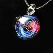 BOEYCJR Вселенная стеклянная бусина планеты кулон ожерелье галактика Веревка Цепь солнечная система дизайн ожерелье для женщин Рождественский подарок