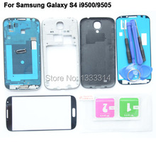 OEM Complete Full Housing Case For Samsung Galaxy S4 Tempered Glass for i9500 9505 i337 Middle Frame Glass Lens Back Case Tools