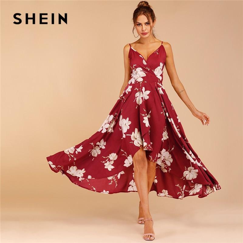 Шеин цветочный принт тюльпан подол Surplice Cami платье Boho спагетти ремень скольжения для женщин платья для Бургундия без рукавов летние платья