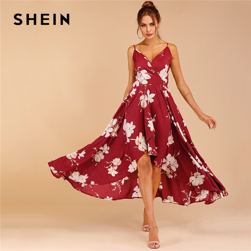 SHEIN Print Tulip Hem Surplice Sexy Cami Dress Boho Spaghetti Strap Slip Women Dresses Sleeveless Summer High Waist Dresses