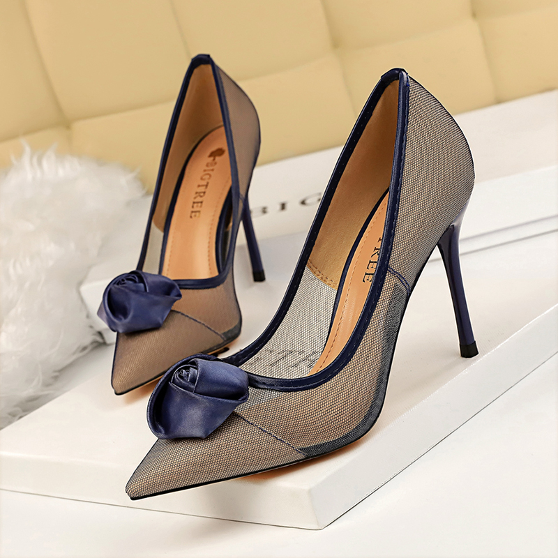 BIGTREE stiletto high heels pumps women shoes escarpins <font><b>sexy</b></font> <font><b>hauts</b></font> <font><b>talons</b></font> shallow flower <font><b>chaussure</b></font> femme <font><b>talon</b></font> air mesh schoenen image