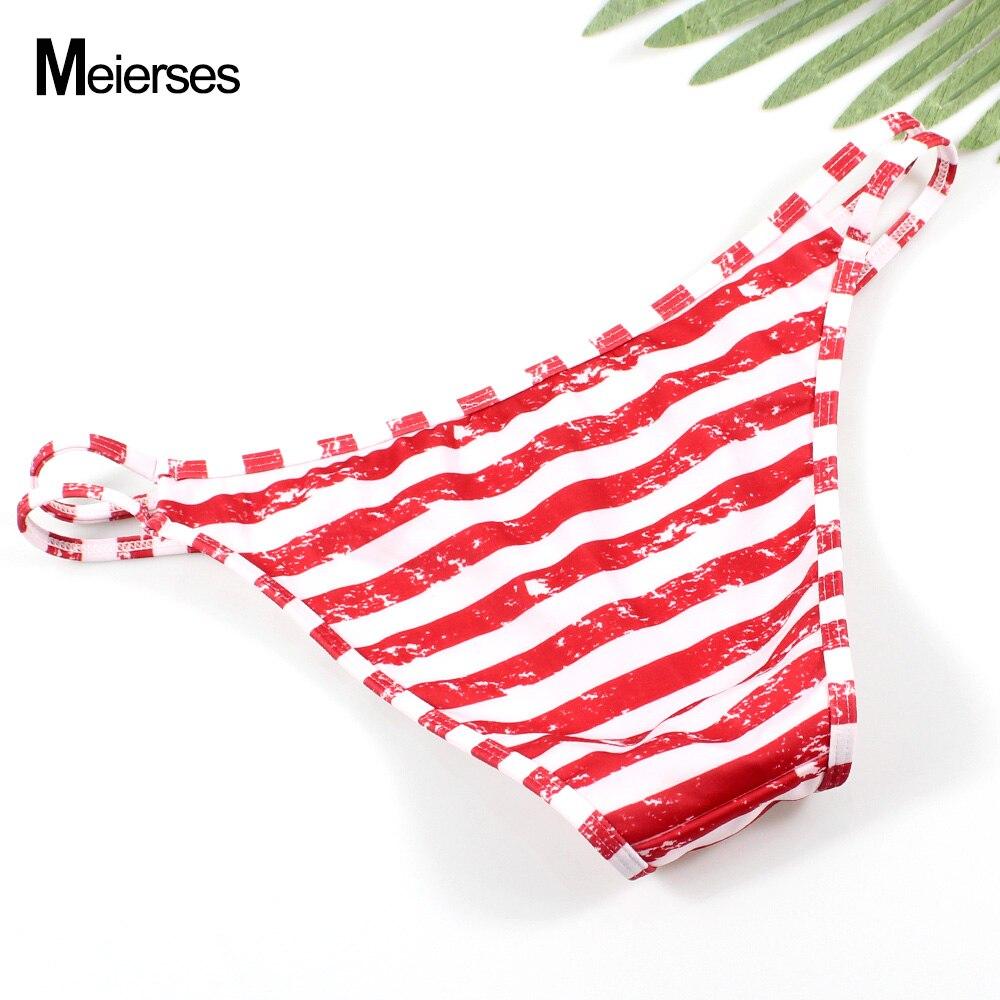 MEIERSES 10 Colors Sexy Women Swimwear Briefs Cut Out Side Low Waist Soft Bikini Separates For Ladies Swim Female Bikini Bottoms