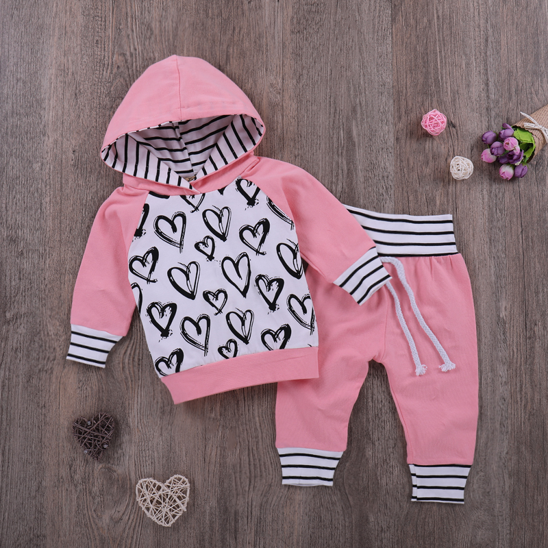 Baby girls clothes set Autumn Heart partten 2pcs outfits sets Hoodie Tops+Pants Infant Toddle Kids baby girl clothing
