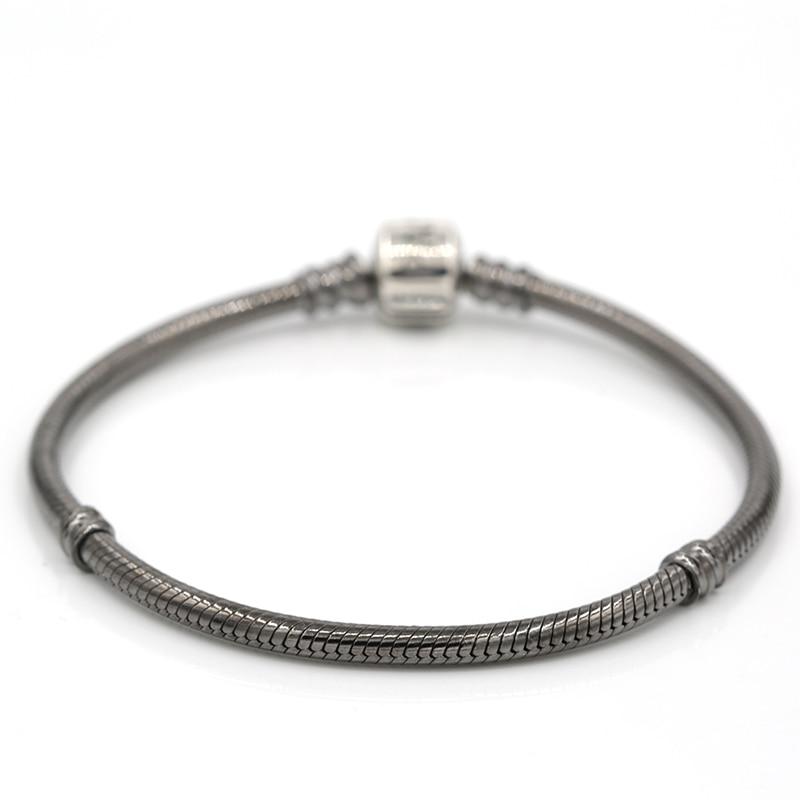 Original 925 en argent Sterling Clip serpent chaîne Bracelet métier à tisser bandes bricolage Fit pour les charmes européens gris bijoux BL358