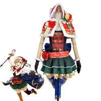 Любовь в прямом эфире школа идол проект Хонока Косака Рождество Короткие Топы платье майка плащ форма наряд аниме Костюмы для косплея