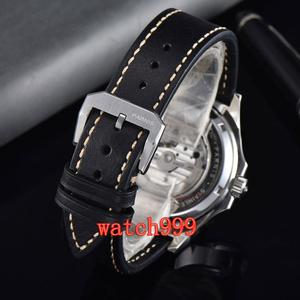 Image 5 - NEW 45mm PARNIS miyota mens watch Blue dial Sapphire Crystal Leather strap Luminous Mechanical Automatic Mens Watch