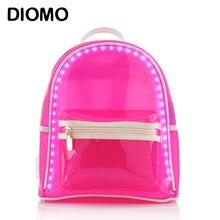 Diomo женщины рюкзак Summer LED рюкзак вспышки света прозрачная пляжная сумка Высококачественная непромокаемая обувь женщина дорожные сумки