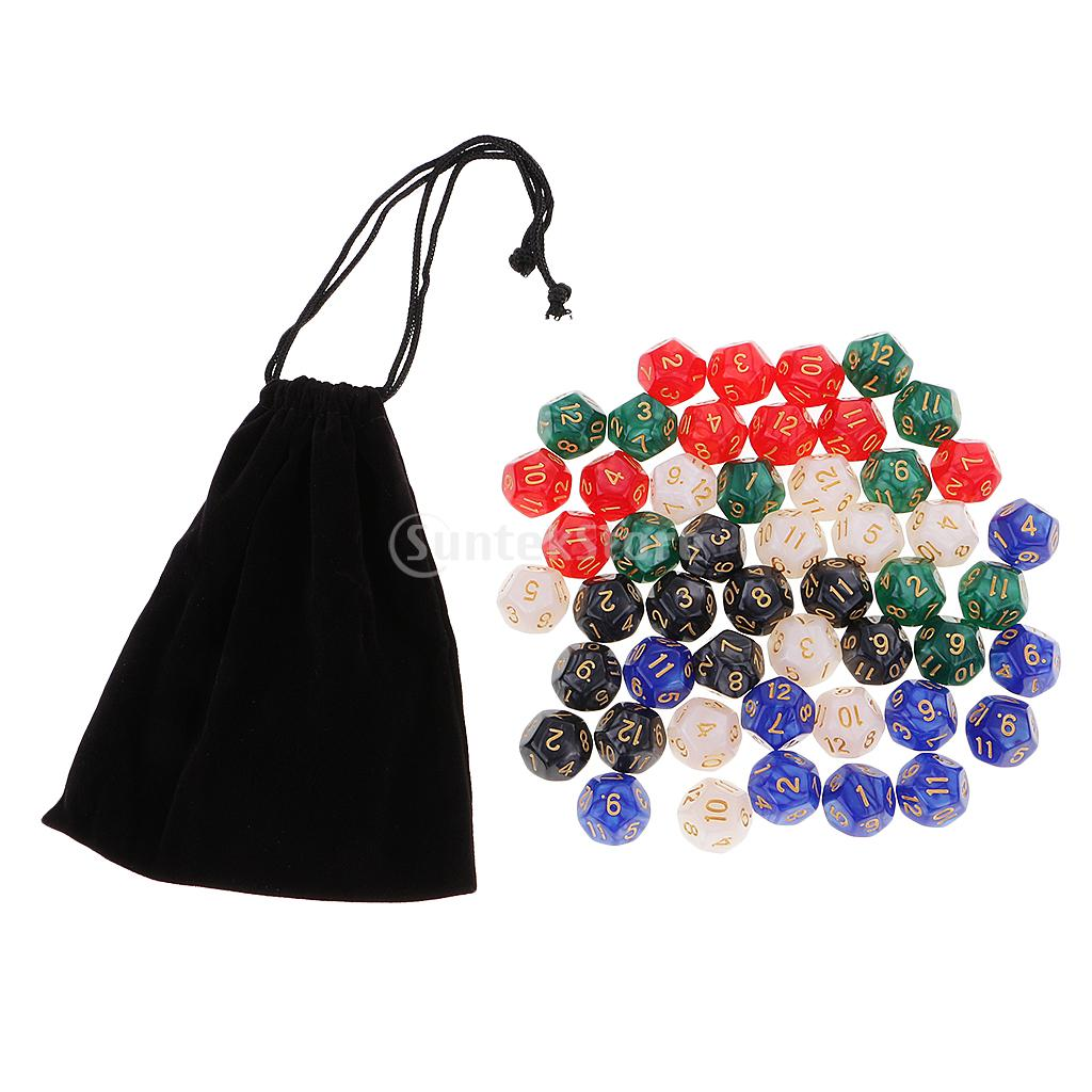 50 Die Polyhedral Set Multicolored D12 Dice 16mm 12 Sided Die with Dice Carry Bag for D& ...
