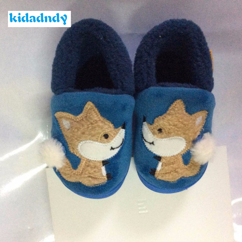 Kidadndy Boys Girls Cotton Shoes Cartoon Little Fox Wooden