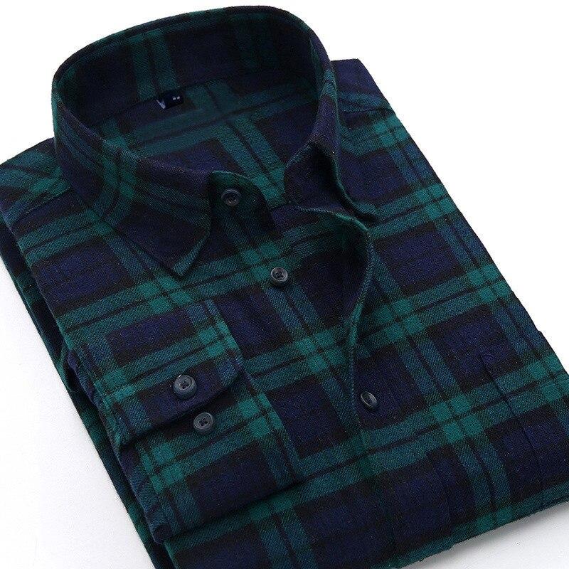 Camisa a cuadros 2019 nuevo Otoño e Invierno de franela a cuadros rojo camisa hombres Camisas manga larga Chemise Homme de algodón Hombre comprobar camisas