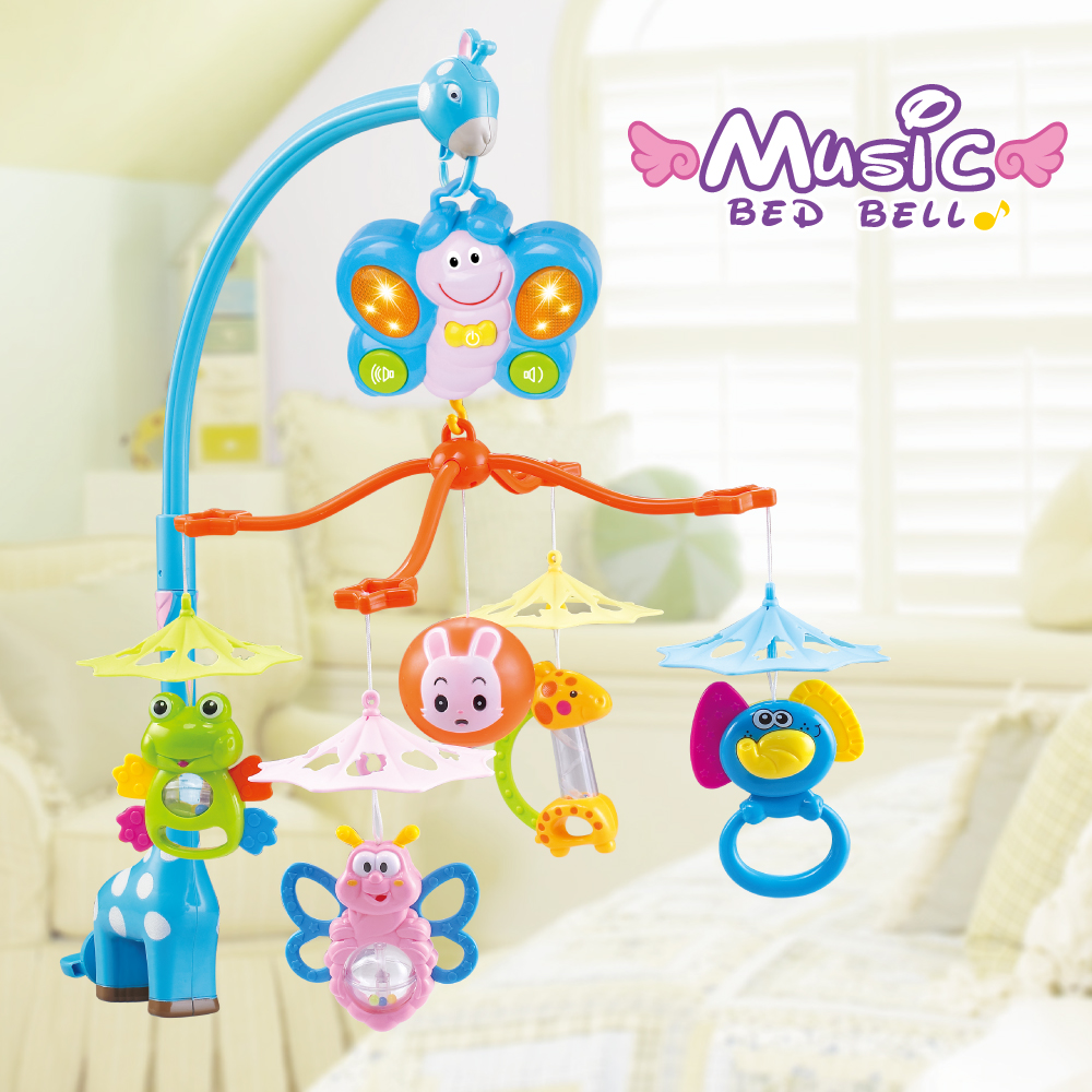 Musical Crib Bed Bell Mobile Baby Rattle Rotating Bracket Projecting Toys for 0-12 Months Newborn Kids Christening gift baby musical crib mobile bed bell baby hanging rattles rotating bracket projecting toys for 0 12 months newborn kids gift